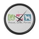 Peace, Love, Porties Large Wall Clock