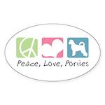 Peace, Love, Porties Sticker (Oval 50 pk)