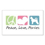 Peace, Love, Porties Sticker (Rectangle 10 pk)