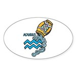 Aquarius Cool Water Design Sticker (Oval 10 pk)