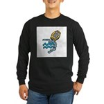 Aquarius Cool Water Design Long Sleeve Dark T-Shir