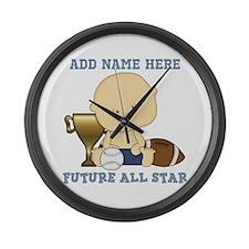 Cute sports baby future star Large Wall Clock