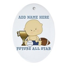 Cute sports baby future star Ornament (Oval)