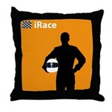 iRace Orange Race Car Driver Throw Pillow