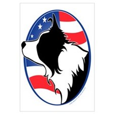 Border Collie B&W Flag