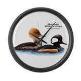 Hooded Mergansers Large Wall Clock