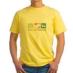 Peace, Love, Dachshunds Yellow T-Shirt