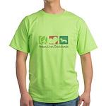 Peace, Love, Dachshunds Green T-Shirt