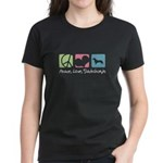 Peace, Love, Dachshunds Women's Dark T-Shirt