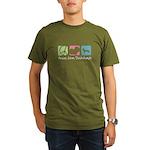 Peace, Love, Dachshunds Organic Men's T-Shirt (dar