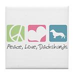 Peace, Love, Dachshunds Tile Coaster