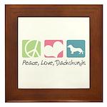 Peace, Love, Dachshunds Framed Tile
