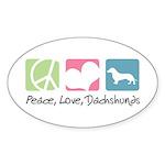 Peace, Love, Dachshunds Sticker (Oval 10 pk)