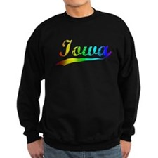 Iowa, Vintage Rainbow Sweatshirt