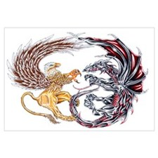 Griffin Fighting Dragon