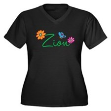 Zion Flowers Women's Plus Size V-Neck Dark T-Shirt