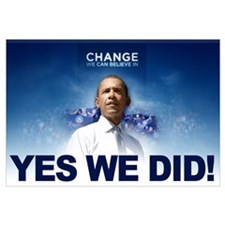Yes We Did! Obama Image Blue