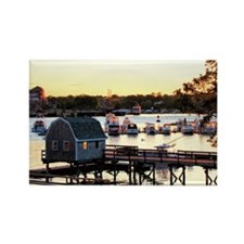 Maine Harbor Sunset Rectangle Magnet