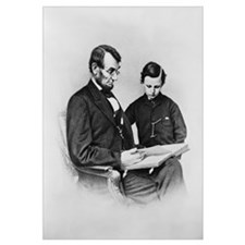 Lincoln Reading to Son Tod