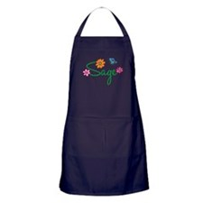 Sage Flowers Apron (dark)