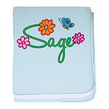 Sage Flowers baby blanket