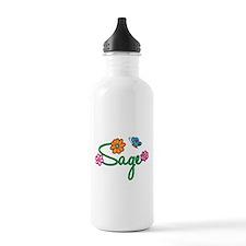 Sage Flowers Water Bottle