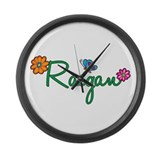 Raegan Flowers Large Wall Clock