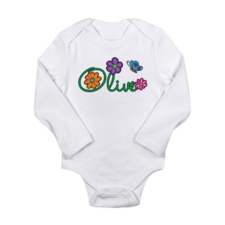 Olive Flowers Long Sleeve Infant Bodysuit