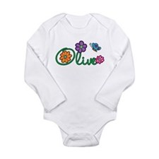 Olive Flowers Long Sleeve Infant Bodysuit