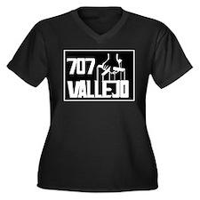 Vallejo -- T-Shirt Women's Plus Size V-Neck Dark T