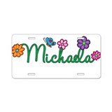 Michaela Flowers Aluminum License Plate