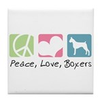 Peace, Love, Boxers Tile Coaster