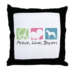Peace, Love, Boxers Throw Pillow