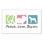 Peace, Love, Boxers Sticker (Rectangle 50 pk)