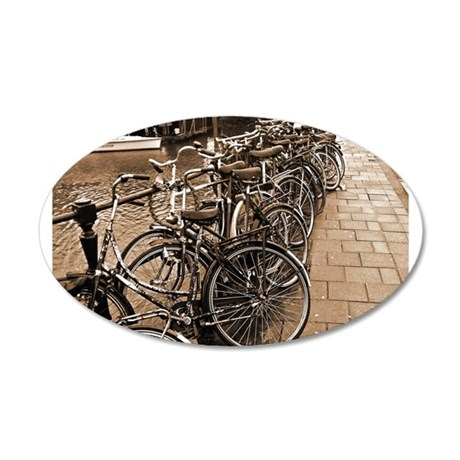 Bike Parking -- Amsterdam in 22x14 Oval Wall Peel