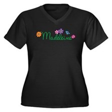 Madeleine Flowers Women's Plus Size V-Neck Dark T-