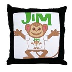 Little Monkey Jim Throw Pillow