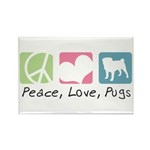 Peace, Love, Pugs Rectangle Magnet (10 pack)