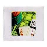 Funny Poker king Throw Blanket