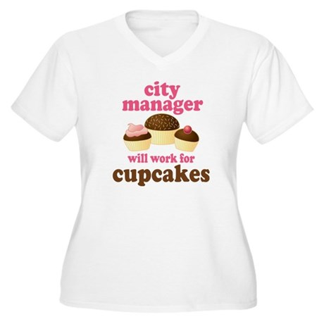 Funny City Manager Women's Plus Size V-Neck T-Shir