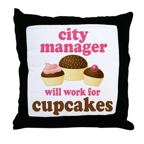 Funny City Manager Throw Pillow