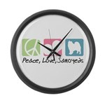 Peace, Love, Samoyeds Large Wall Clock