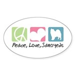 Peace, Love, Samoyeds Sticker (Oval 50 pk)
