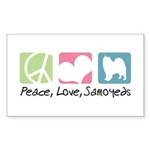 Peace, Love, Samoyeds Sticker (Rectangle 50 pk)