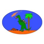 Space Dinosaur Oval Sticker