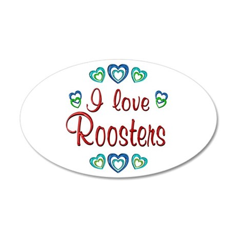 I Love Roosters 38.5 x 24.5 Oval Wall Peel