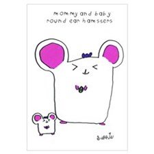 Mommy and Baby Round Ear Hamsters Print