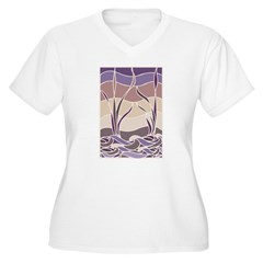 Batik Sunset Marsh Women's Plus Size V-Neck T-Shir