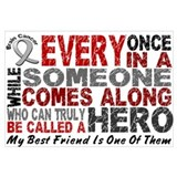 HERO Comes Along 1 Best Friend BRAIN CANCER Framed