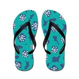 MariMekFlower Teal Blue Flip Flops